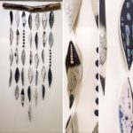 Medium Porcelain and Driftwood Wall Hanging (Black and White)