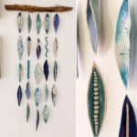 Small Porcelain and Driftwood Wall Hanging (Turquoise)